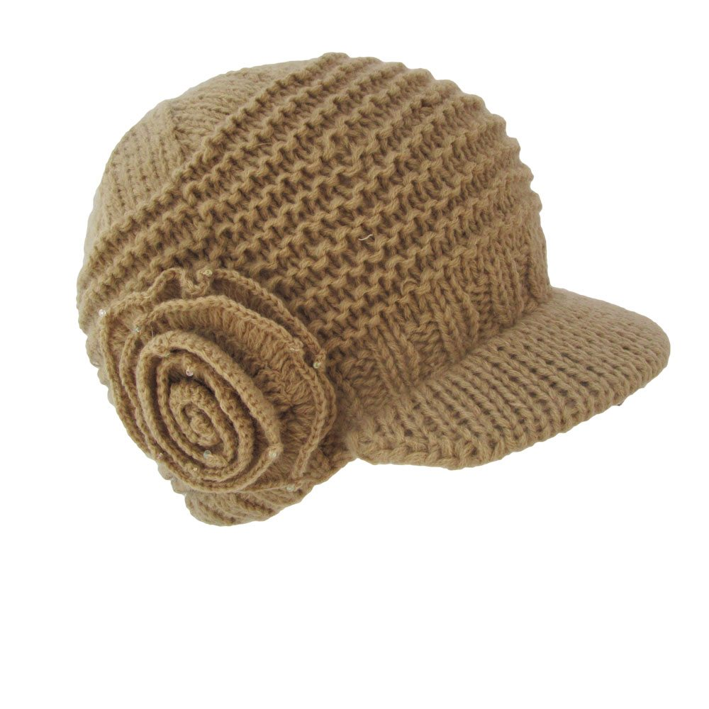89fc8a565 Knitted Flower Cap with Visor Bill by Betmar
