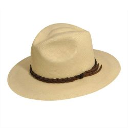Holland Hats PANTROPIC MENDOCINO PANAMA FEDORA WITH LEATHER HATBAND