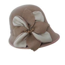 Holland Hats Scala Self Flower Wool Felt Cloche Camel