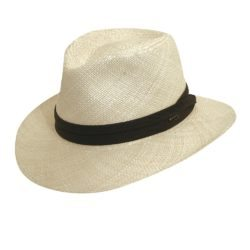 Holland Hats Scala Downbrim Panama Fedora with Olive Trim