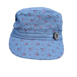 Holland Hats Scala Antique Button Linen Cap Blue